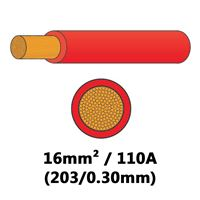 DBG PVC Semi-rigid Battery/Welding Cable 203/0.30 16mm² 110A - RED