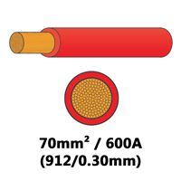 DBG PVC Semi-rigid Battery/Welding Cable 912/0.30 70mm² 600A - RED