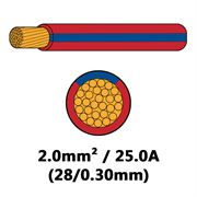 DBG Single Core Thin Wall PVC Auto Cable 2.0mm² (25.0A) - Red/Blue