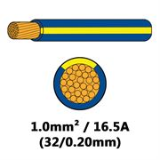 DBG Single Core Thin Wall PVC Auto Cable 1.0mm² (16.5A) - Blue/Yellow