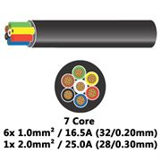 DBG 7 Core Thinwall PVC Automotive Cable 6x 32/0.20 1.0mm² 16.5A / 1x 28/0.30 2.0mm² 25.0A