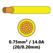 DBG Single Core Thin Wall PVC Auto Cable 0.75mm² (14.0A) - Yellow