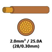 DBG Single Core Thin Wall PVC Auto Cable 2.0mm² (25.0A) - Brown