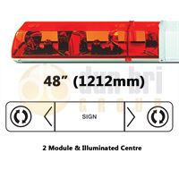 ECCO 704.002 70 Series 1212mm AMBER 2 Module ROTATOR Lightbar with Illuminated Centre R65 24V