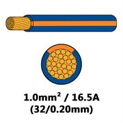 DBG Single Core Thin Wall PVC Auto Cable 1.0mm² (16.5A) - Blue/Orange