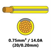 DBG Single Core Thin Wall PVC Auto Cable 0.75mm² (14.0A) - Yellow/Slate Grey