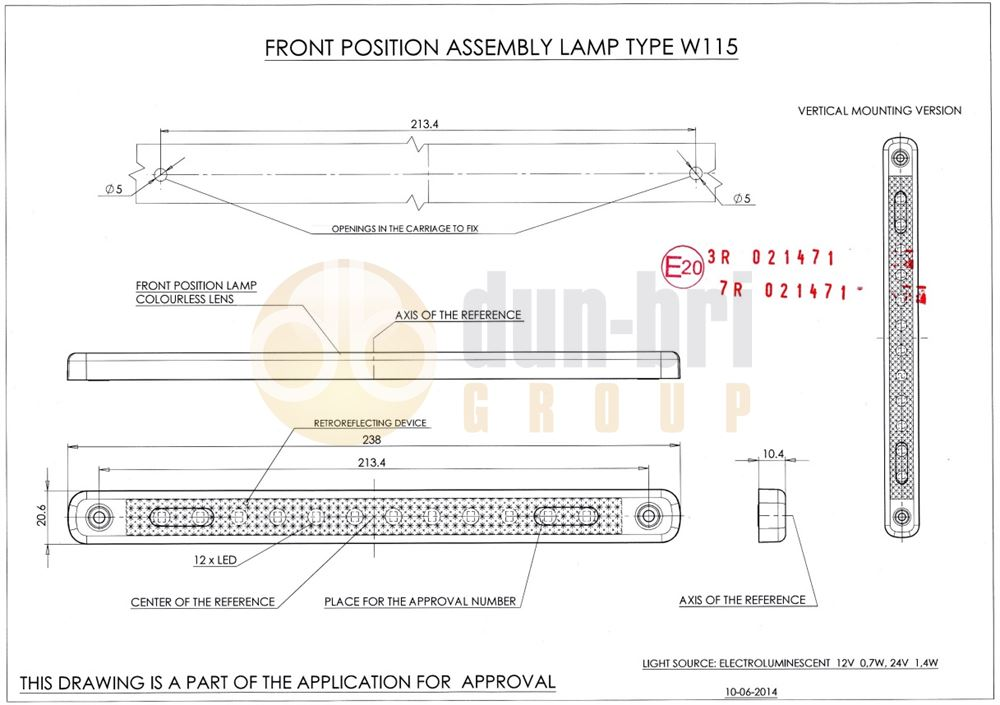 826 WAS W115 LED Front Marker / Reflector Lamp Technical Drawing