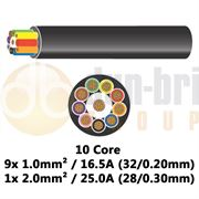 DBG 10 Core Thinwall PVC Automotive Cable 9x 32/0.20 1.0mm² 16.5A / 1x 28/0.30 2.0mm² 25.0A - 100m - 540.4910HT/100B