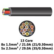 DBG 13 Core Thinwall PVC Automotive Cable 8x 21/0.30 1.5mm² 21.0A / 5x 35/0.30 2.5mm² 29.0A