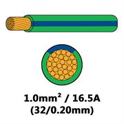 DBG Single Core Thin Wall PVC Auto Cable 1.0mm² (16.5A) - Green/Blue