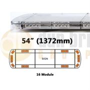 ECCO 15L-01328-V 15L Series 1372mm AMBER/CLEAR 16 Module LED Lightbar with Opaque Centre R65 12/24V