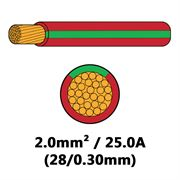 DBG Single Core Thin Wall PVC Auto Cable 2.0mm² (25.0A) - Red/Green