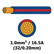DBG Single Core Thin Wall PVC Auto Cable 1.0mm² (16.5A) - Blue/Red