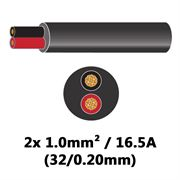 DBG 2 Core Thinwall PVC Automotive Round Cable 2x 32/0.20 1.0mm² 16.5A - BLACK (Black/Red)