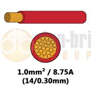 DBG 540.4102RED/100 Single Core Standard PVC Automotive Cable 14/0.30 1.0mm² 8.75A - RED 100m