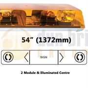 ECCO 608.3A02 60 Series 1372mm AMBER 2 Module ROTATOR Lightbar with Illuminated Centre R65 24V