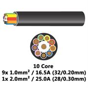 DBG 10 Core Thinwall PVC Automotive Cable 9x 32/0.20 1.0mm² 16.5A / 1x 28/0.30 2.0mm² 25.0A
