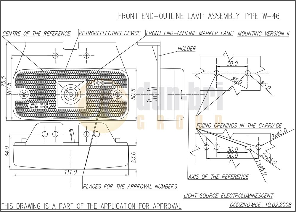 225Z WAS W46 LED Front Marker Lamp with Bracket Technical Drawing