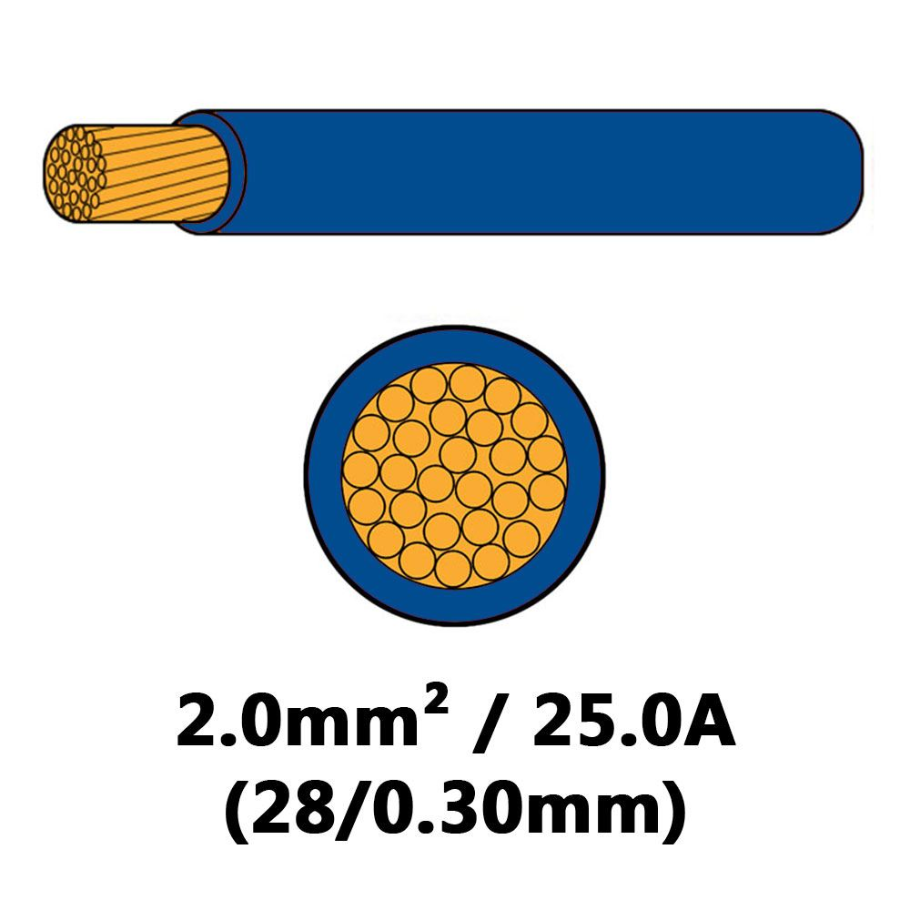 DBG Single Core Thin Wall PVC Auto Cable 2.0mm² (25.0A) - Blue
