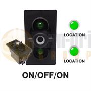Carling 273.223 V-SERIES Rocker Switch Base 12V ON/OFF/ON SP 2xLED GREEN/GREEN