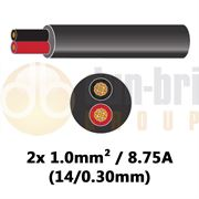 DBG 2 Core Standard PVC Automotive Round Cable 2x 14/0.30 1.0mm² 8.75A - BLACK (Black/Red) - 30m - 540.4202R/30B