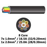 DBG 8 Core Thinwall PVC Automotive Cable 7x 32/0.20 1.0mm² 16.5A / 1x 28/0.30 2.0mm² 25.0A