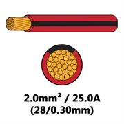 DBG Single Core Thin Wall PVC Auto Cable 2.0mm² (25.0A) - Red/Black