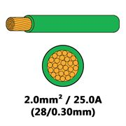 DBG Single Core Thin Wall PVC Auto Cable 2.0mm² (25.0A) - Green