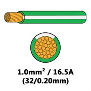 DBG Single Core Thin Wall PVC Auto Cable 1.0mm² (16.5A) - Green/White