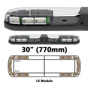 ECCO 13 Series R65 LED 16 Module Lightbar (770mm) - Amber/Clear