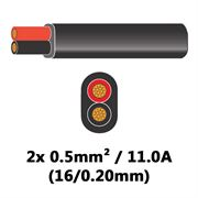 DBG 2 Core Thinwall PVC Automotive Flat Cable 2x 16/0.20 0.5mm² 11.0A - BLACK (Black/Red)