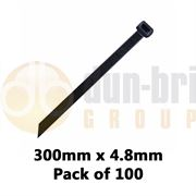 DBG Standard Nylon Cable Ties 300mm x 4.8mm Black (Pack of 100)