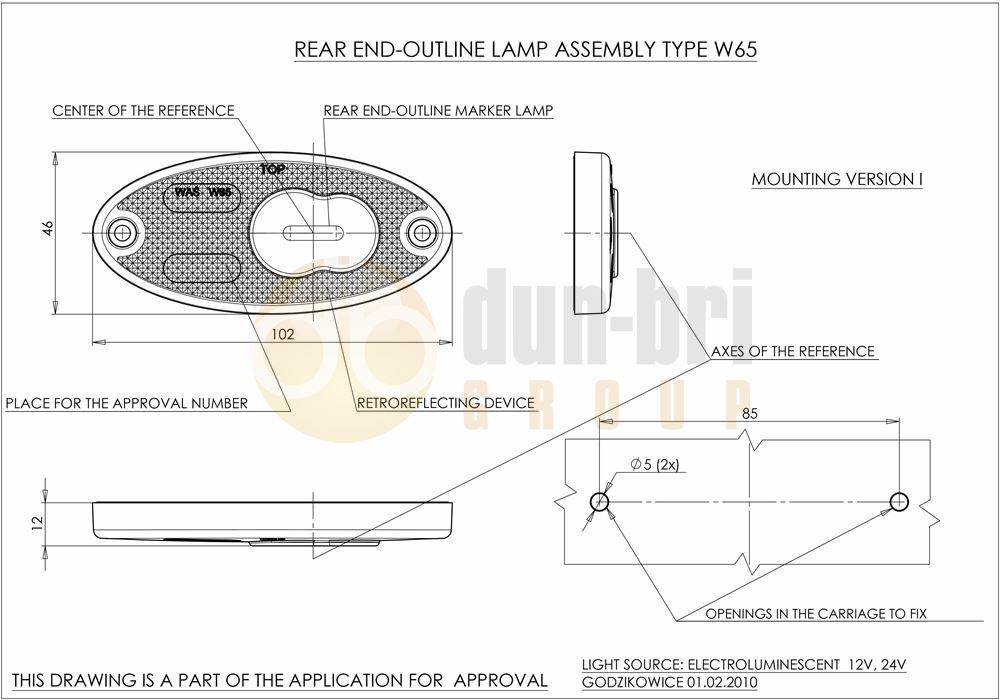 was w65 led rear marker    reflector lamp