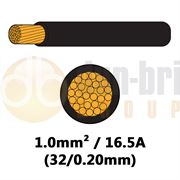 DBG Single Core High Temp Thinwall PVC Automotive Cable 32/0.20 1.0mm² 16.5A - BLACK - 50m - 540.4102HT/50B