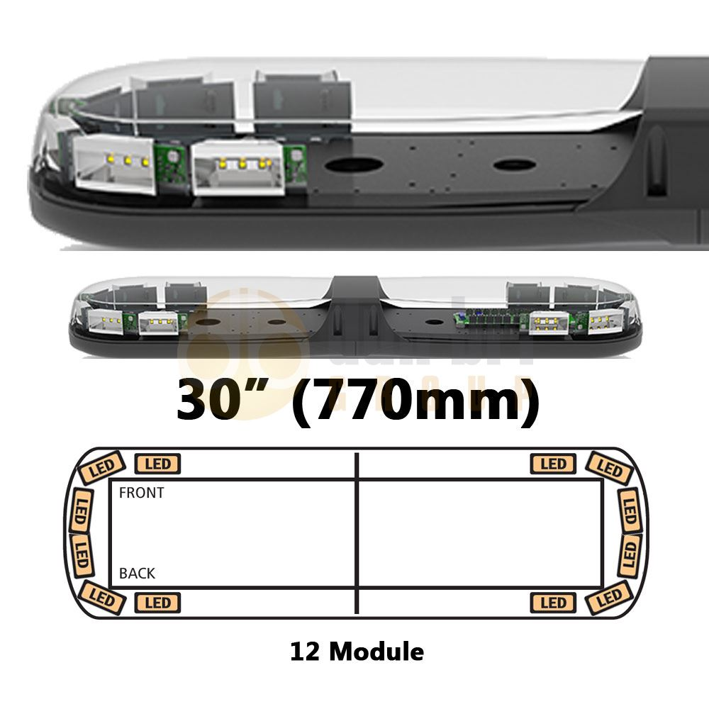 ECCO 13-00018-E 13 Series 770mm AMBER/CLEAR 12 Module LED Lightbar R65 12/24V