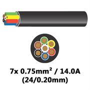 DBG 7 Core Thinwall PVC Automotive Cable 7x 24/0.20 0.75mm² 14.0A