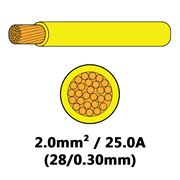 DBG Single Core Thin Wall PVC Auto Cable 2.0mm² (25.0A) - Yellow