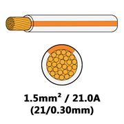 DBG Single Core Thin Wall PVC Auto Cable 1.5mm² (21.0A) - White/Orange