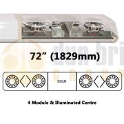ECCO 60-00530-V 60 Series HALO 1829mm AMBER/CLEAR 4 Module LED Lightbar with Illuminated Centre R65 24V