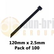 DBG Standard Nylon Cable Ties 120mm x 2.5mm Black (Pack of 100)