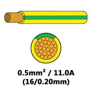 DBG Single Core Thin Wall PVC Auto Cable 0.5mm² (11.0A) - Yellow/Green
