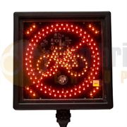 Amber Valley Square Warning Cyclist LED Illuminated Sign - AVCSWL03