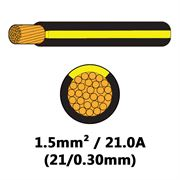 DBG Single Core Thin Wall PVC Auto Cable 1.5mm² (21.0A) - Black/Yellow