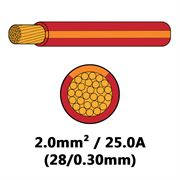 DBG Single Core Thin Wall PVC Auto Cable 2.0mm² (25.0A) - Red/Orange