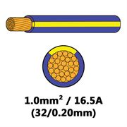 DBG Single Core Thin Wall PVC Auto Cable 1.0mm² (16.5A) - Purple/Yellow