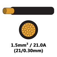 DBG Single Core Thin Wall PVC Auto Cable 1.5mm² (21.0A) - Black