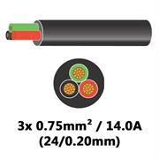 DBG 3 Core Thinwall PVC Automotive Cable 3x 24/0.20 0.75mm² 14.0A