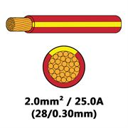 DBG Single Core Thin Wall PVC Auto Cable 2.0mm² (25.0A) - Red/Yellow