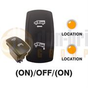Carling 273.666 V-SERIES CONTURA V Rocker Switch 12V (ON)/OFF/(ON) DP 2xLED AMBER/AMBER with DRIVE and KNEEL Legends