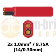 DBG 2 Core Standard PVC Automotive Flat Cable 2x 14/0.30 1.0mm² 8.75A - RED (Black/Red) - 100m - 540.4202/100R